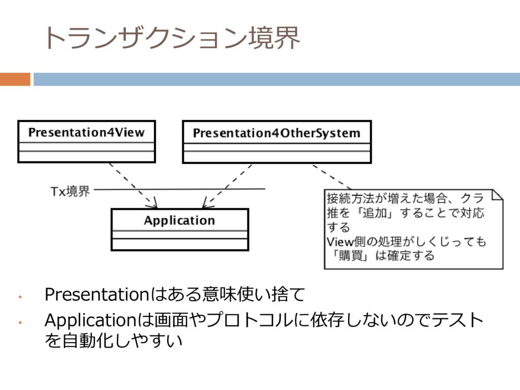 トランザクション境界 • Presentationはある意味使い捨て • Applicatio...