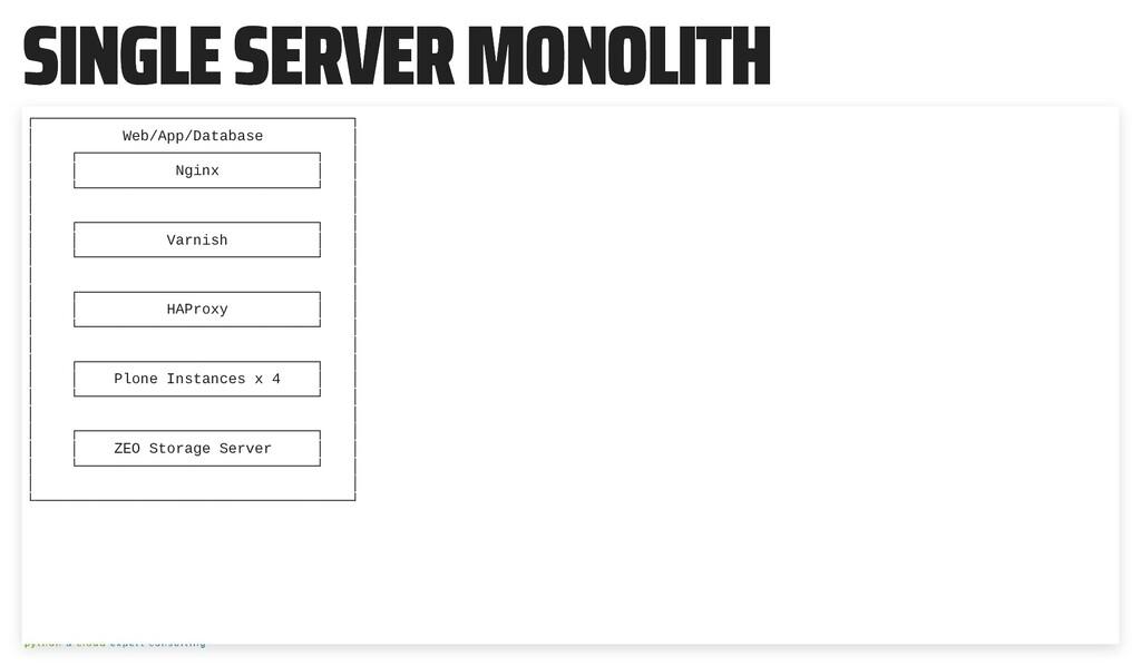 SINGLE SERVER MONOLITH SINGLE SERVER MONOLITH ┌...