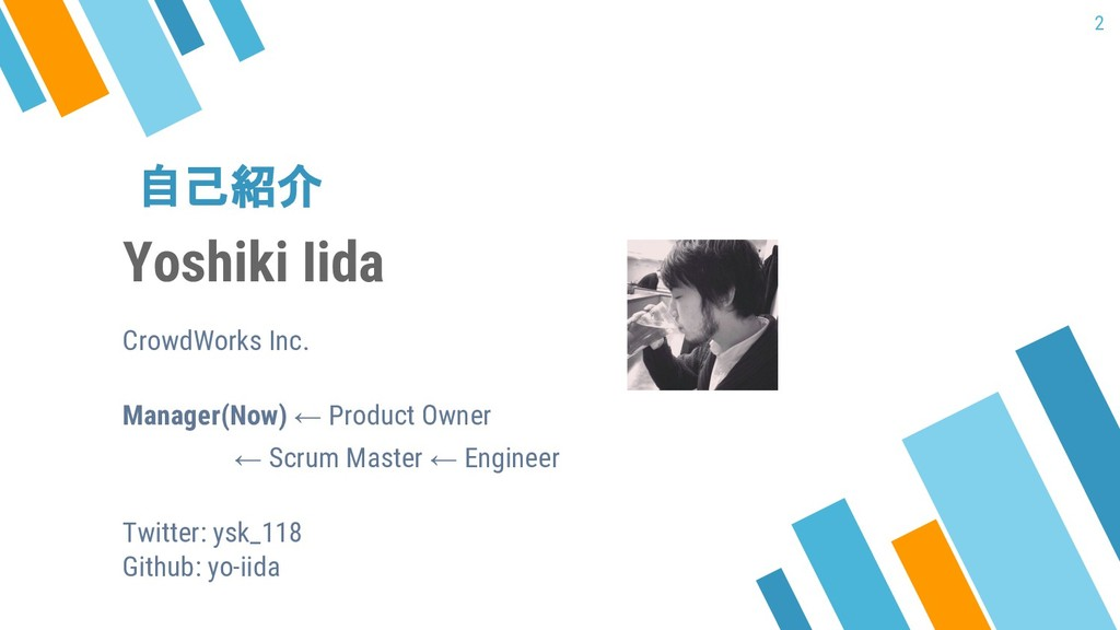 自己紹介 2 Yoshiki Iida CrowdWorks Inc. Manager(Now...