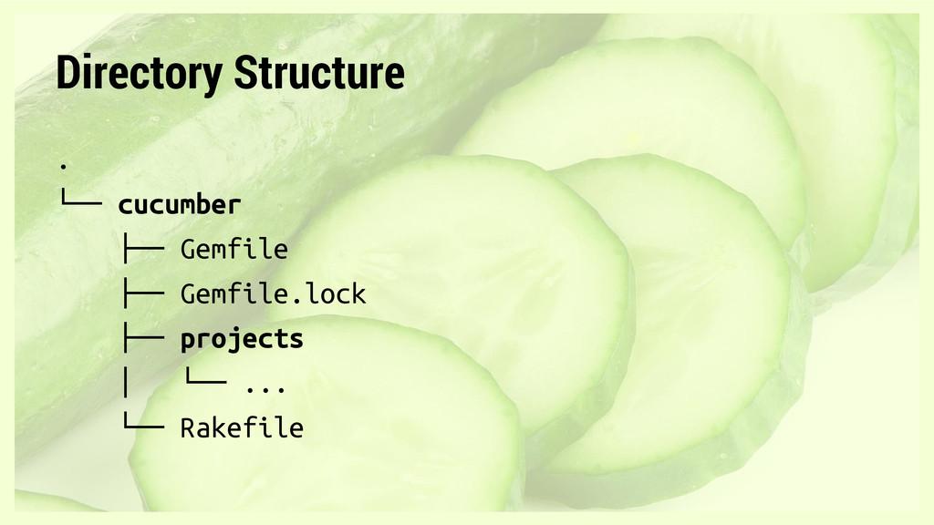 Directory Structure . └── cucumber ├── Gemfile ...