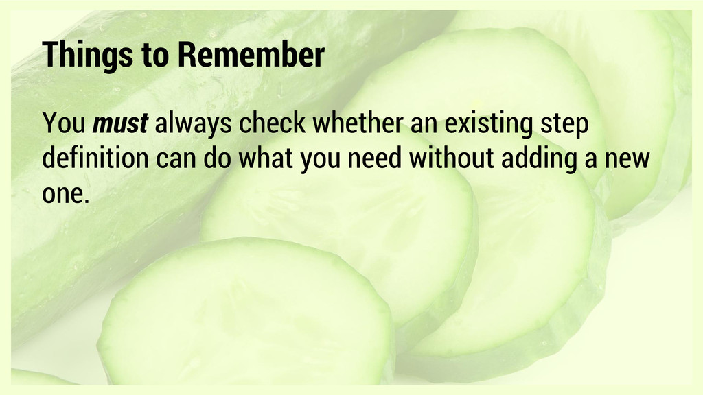 Things to Remember You must always check whethe...