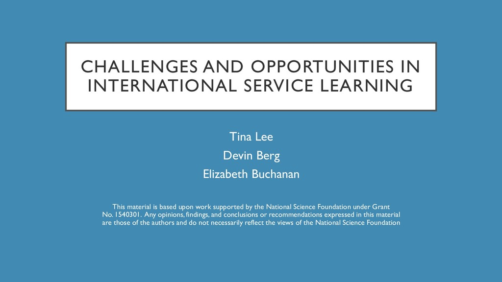 CHALLENGES AND OPPORTUNITIES IN INTERNATIONAL S...