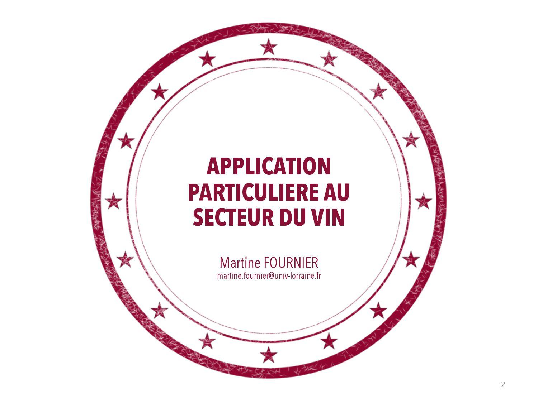 APPLICATION AU SECTEUR DU VIN Martine FOURNIER ...