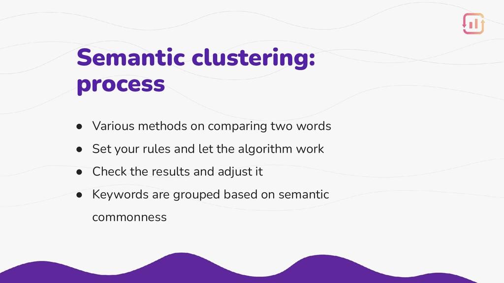 Semantic clustering: process ● Various methods ...