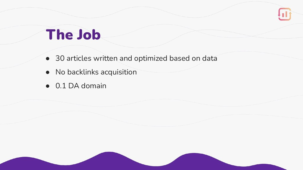 The Job ● 30 articles written and optimized bas...
