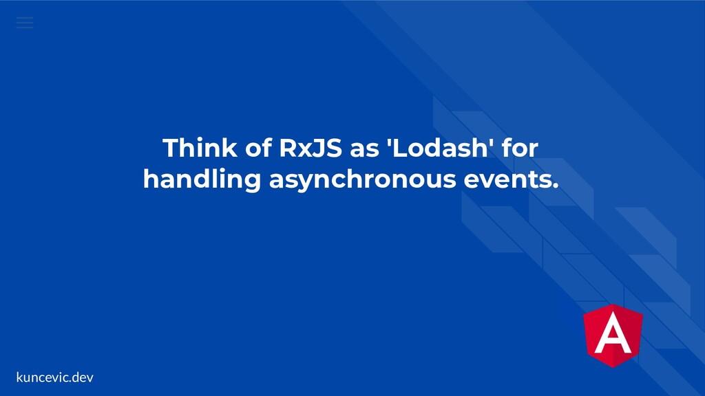 kuncevic.dev Think of RxJS as 'Lodash' for hand...