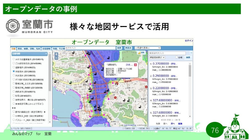 76 オープンデータの事例 様々な地図サービスで活用   みんなのマップ for  室蘭