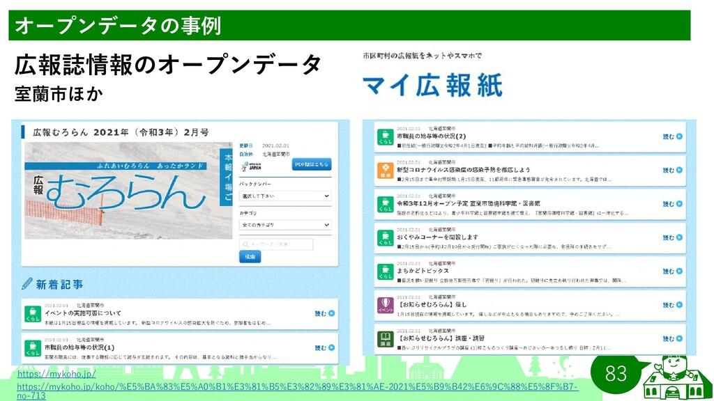 83 オープンデータの事例 室蘭市ほか 広報誌情報のオープンデータ https://mykoh...