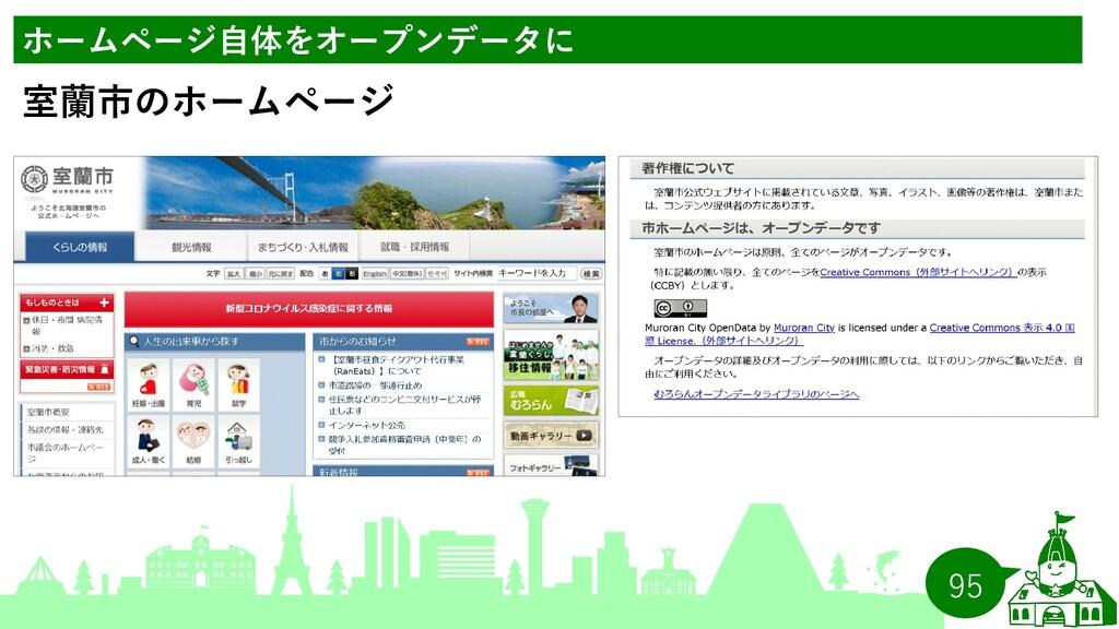 95 ホームページ自体をオープンデータに 室蘭市のホームページ
