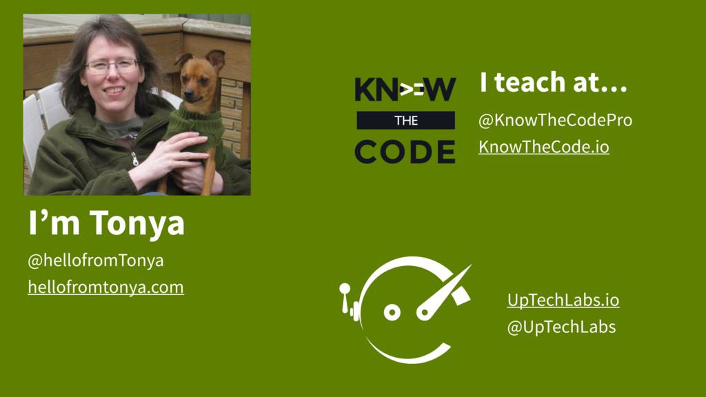 I'm Tonya @hellofromTonya hellofromtonya.com Up...