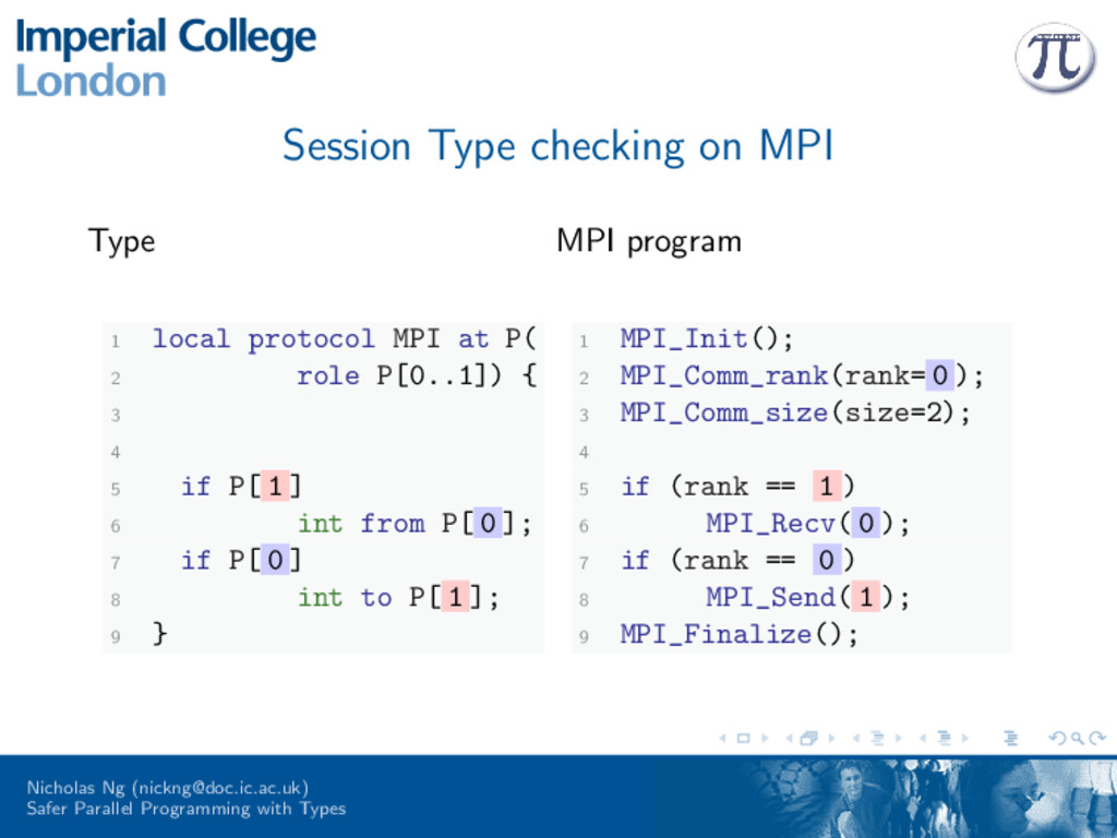Session Type checking on MPI Type 1 local proto...