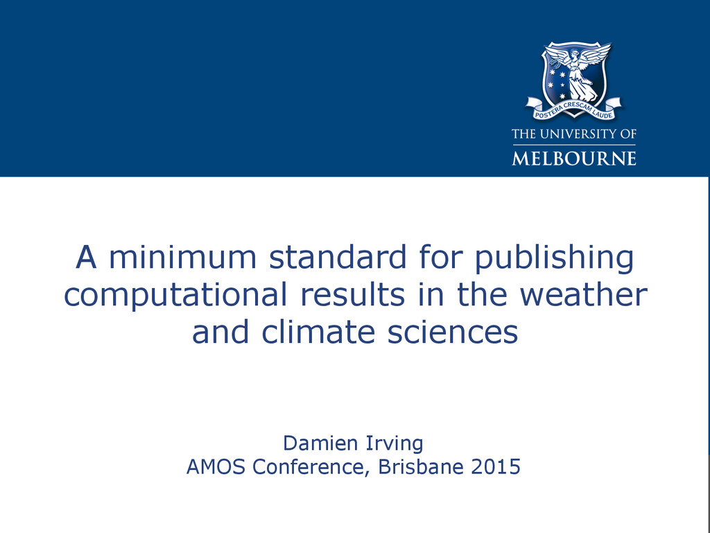 Damien Irving AMOS Conference, Brisbane 2015 A ...