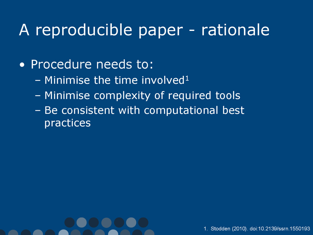 A reproducible paper - rationale •  Procedure n...