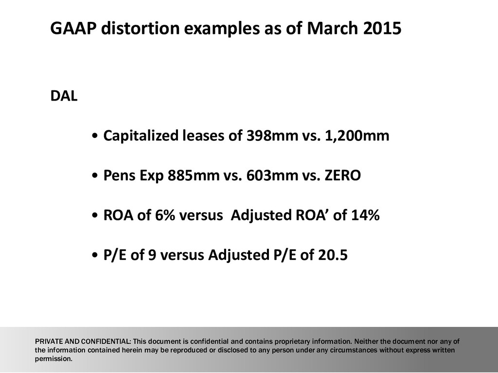 GAAP distortion examples as of March 2015 DAL •...