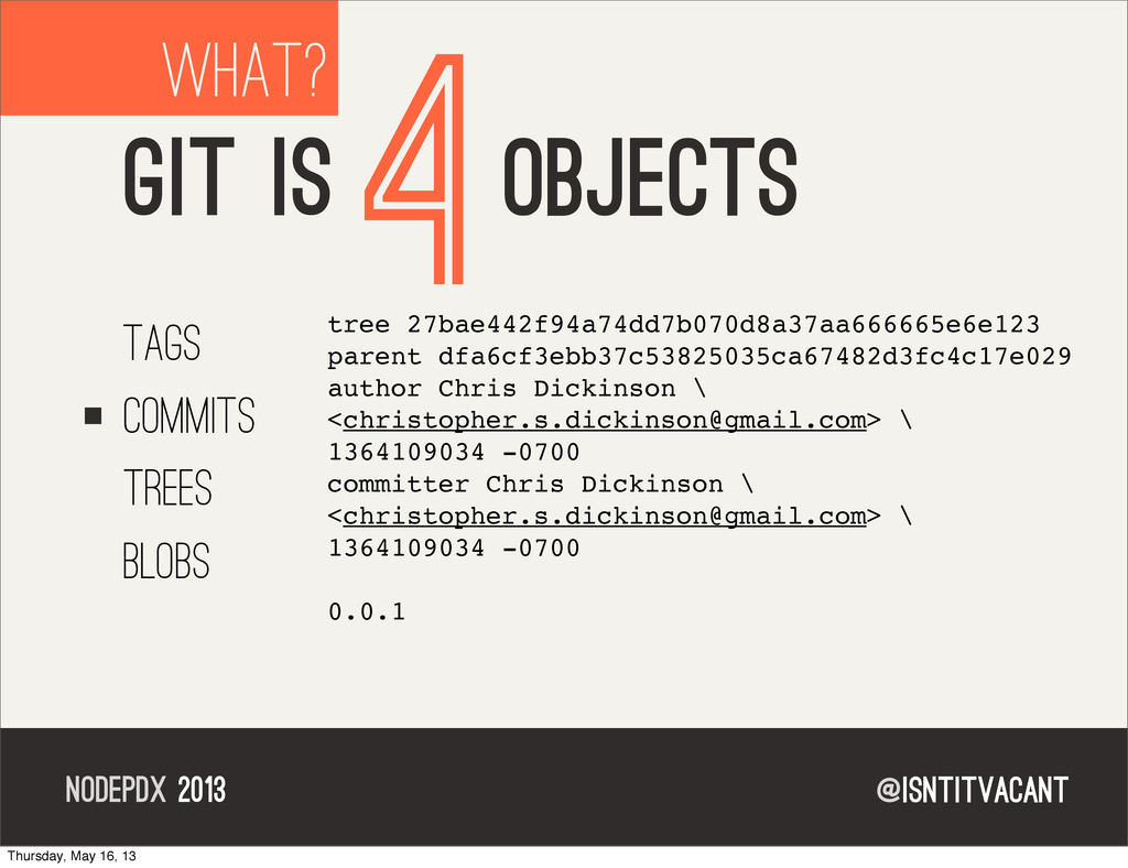 @isntitvacant NODEPDX 2013 WHAT? GIT IS 4OBJECT...