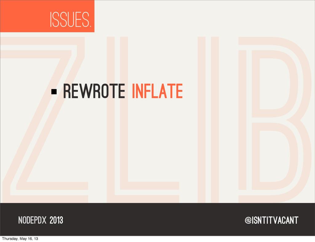 @isntitvacant NODEPDX 2013 ISSUES. ZLIB rewrote...