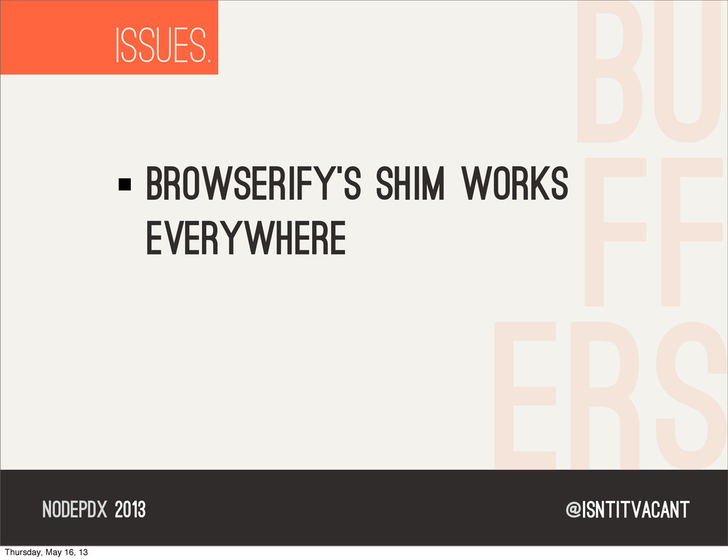 @isntitvacant NODEPDX 2013 ISSUES. browserify's...