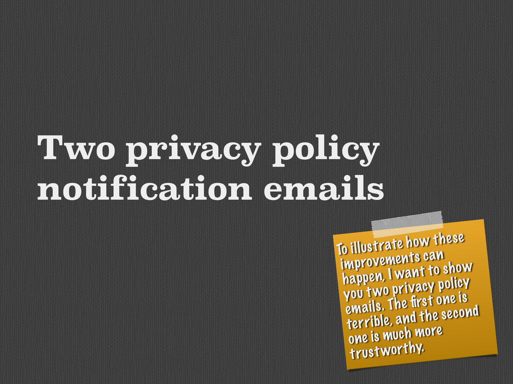Two privacy policy notification emails To illus...