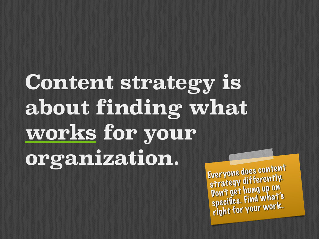 Content strategy is about finding what works fo...