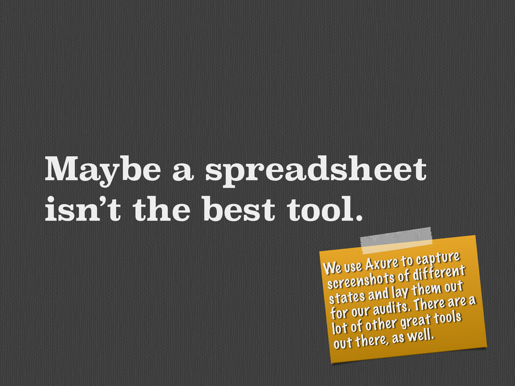 Maybe a spreadsheet isn't the best tool. We use...