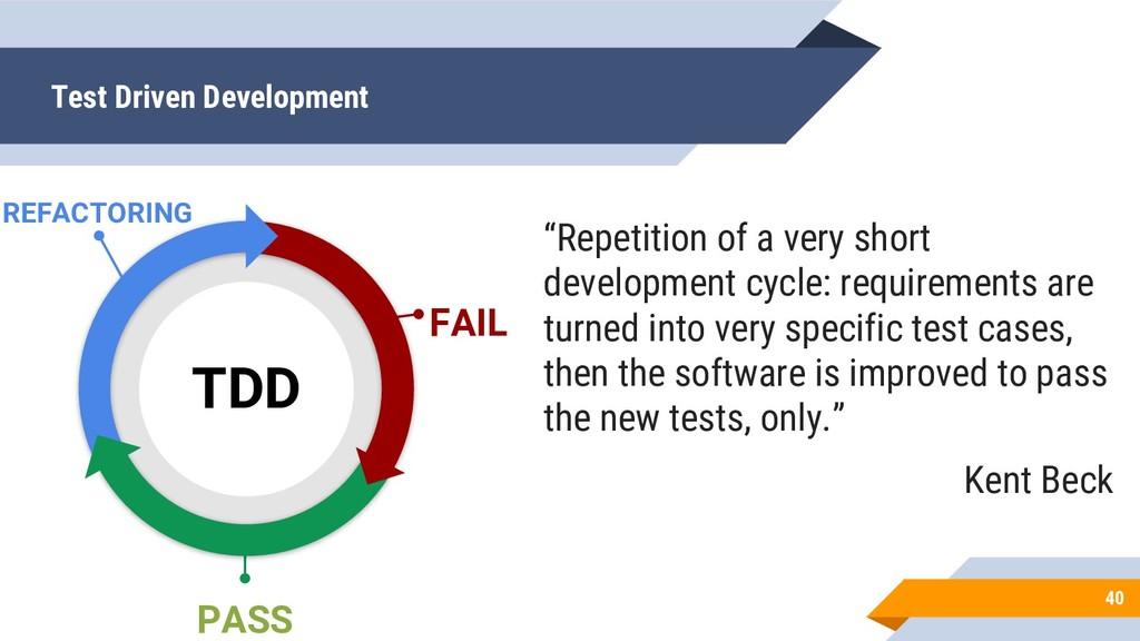 Test Driven Development 40 FAIL PASS TDD REFACT...