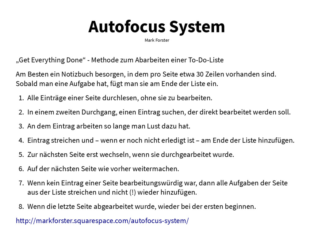 "Autofocus System Mark Forster ""Get Everything D..."