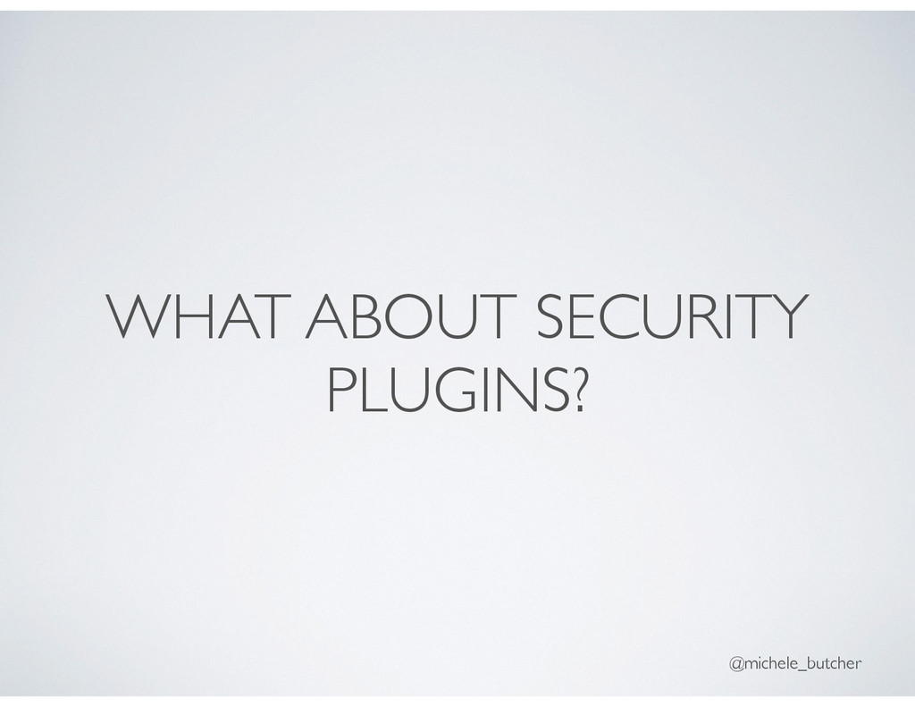 WHAT ABOUT SECURITY PLUGINS? @michele_butcher