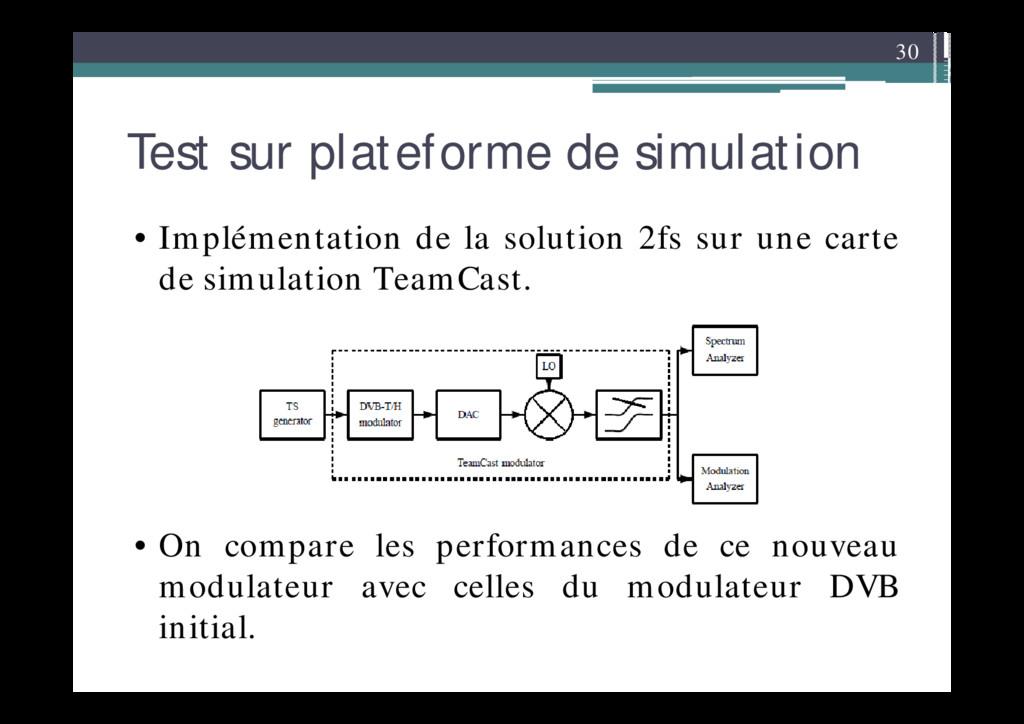 30 Test sur plateforme de simulation • Implémen...