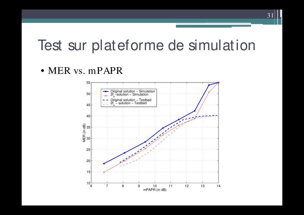 31 Test sur plateforme de simulation • MER vs. ...