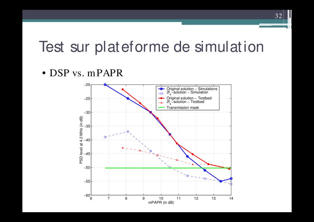 32 Test sur plateforme de simulation • DSP vs. ...