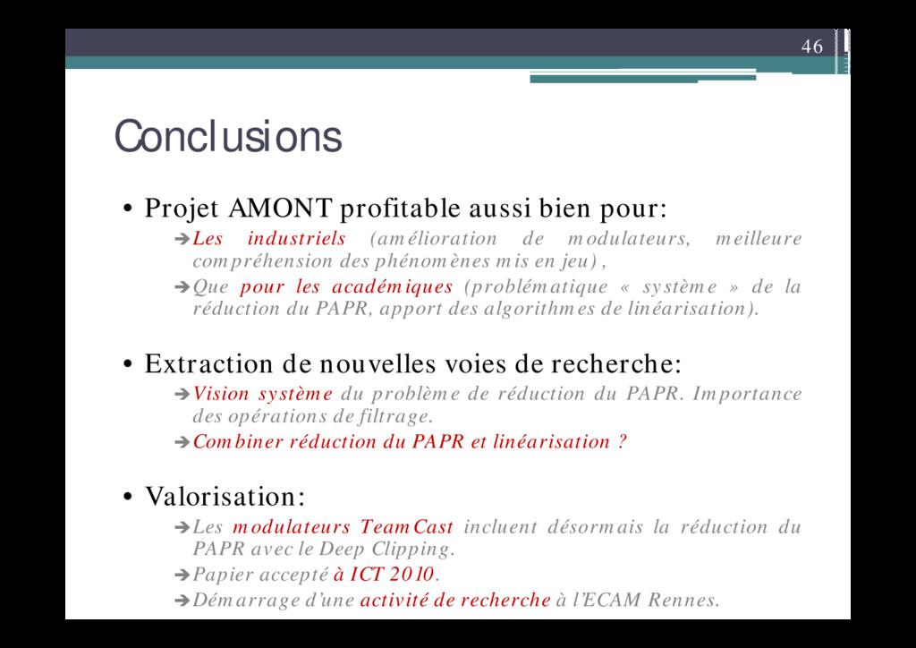 46 Conclusions • Projet AMONT profitable aussi ...