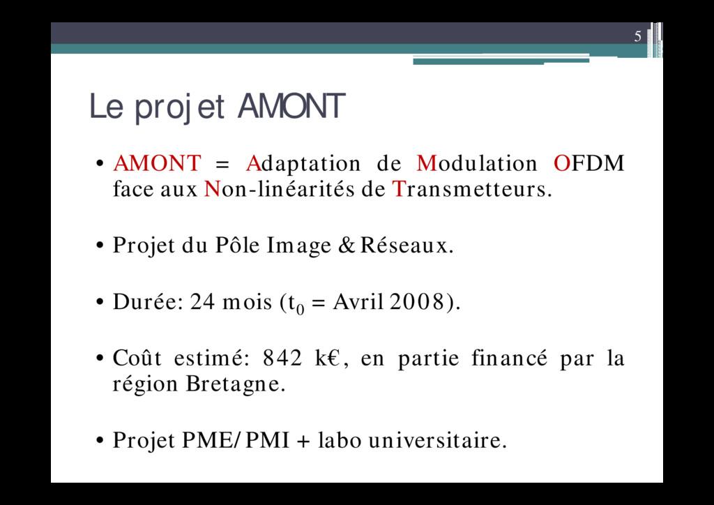 5 Le projet AMONT • AMONT = Adaptation de Modul...