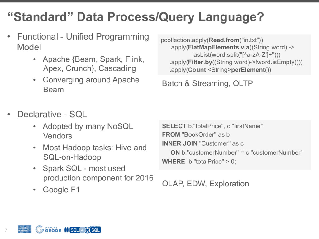 """Standard"" Data Process/Query Language? 7 •  Fu..."