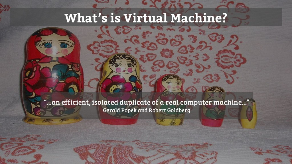 "What's is Virtual Machine? ""...an efficient, is..."