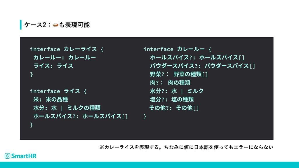 ※カレーライスを表現する。ちなみに値に日本語を使ってもエラーにならない interface カ...