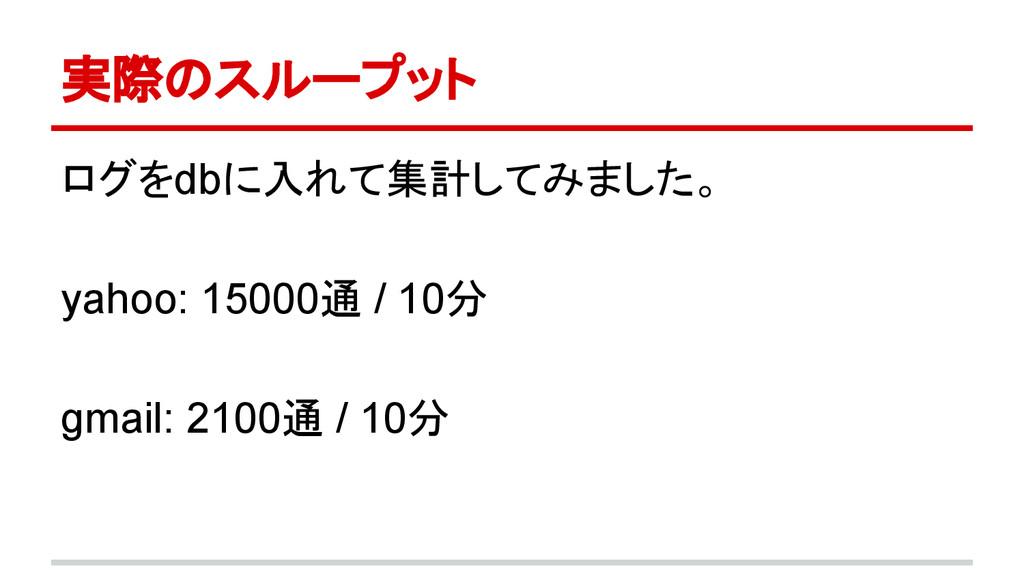 実際のスループット ログをdbに入れて集計してみました。 yahoo: 15000通 / 10...