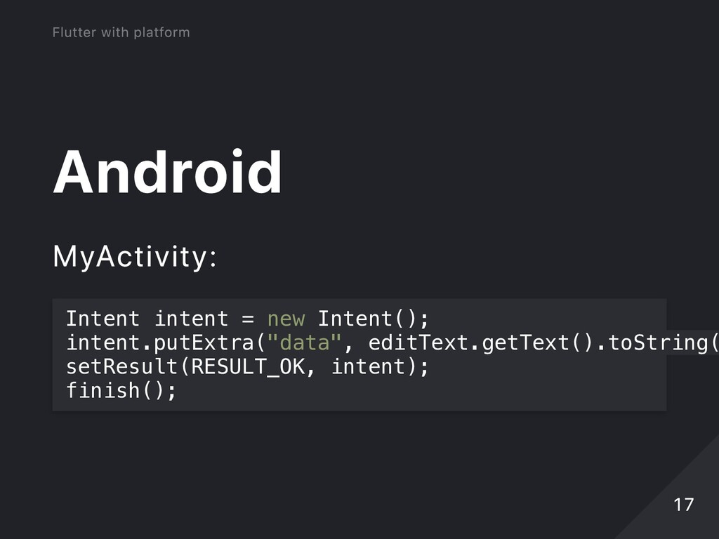 Android MyActivity: Intent intent = new Intent(...