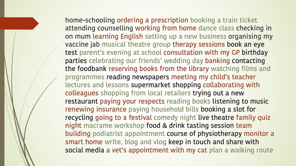 home-schooling ordering a prescription booking ...