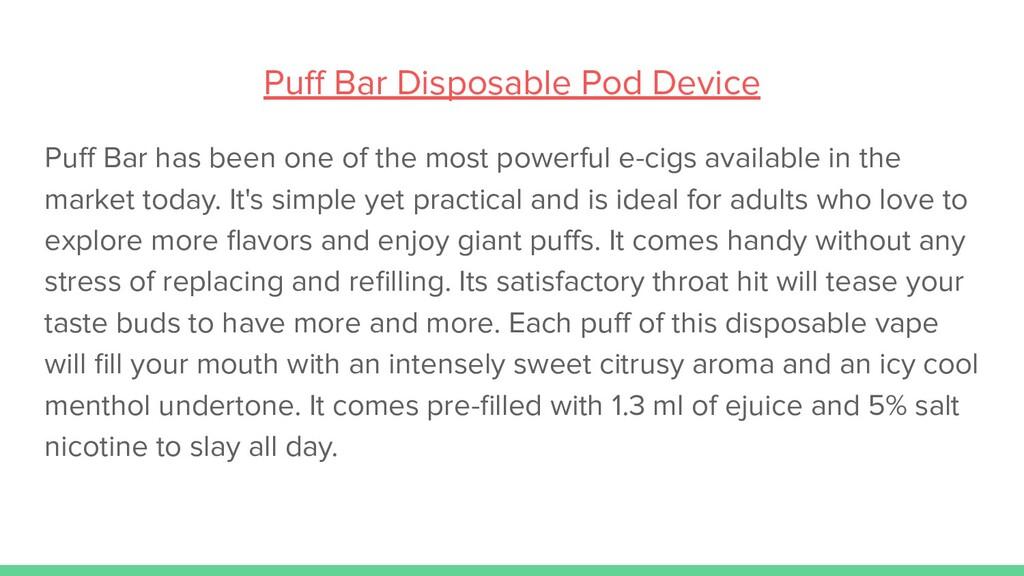 Puff Bar Disposable Pod Device Puff Bar has been ...
