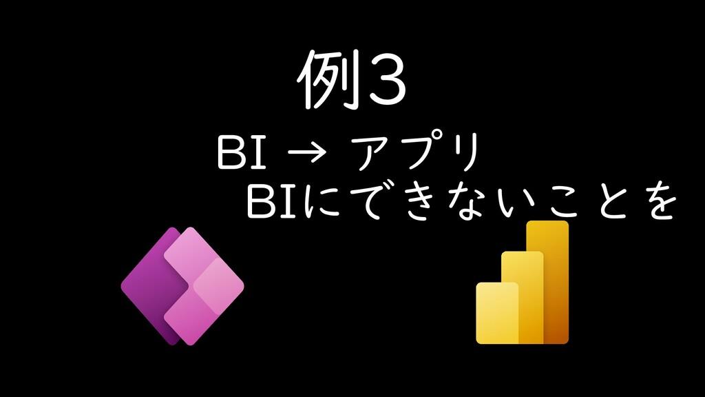 例3 BI → アプリ BIにできないことを
