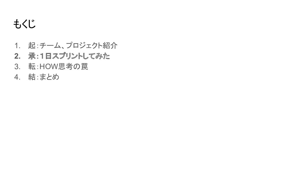もくじ 1. 起:チーム、プロジェクト紹介 2. 承:1日スプリントしてみた 3. 転:HOW...