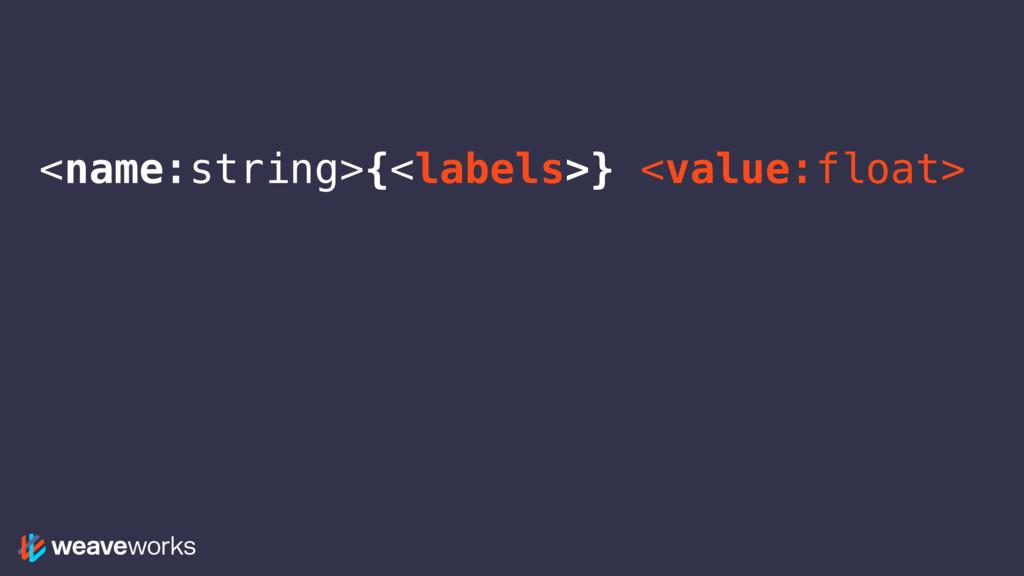 <name:string>{<labels>} <value:float>
