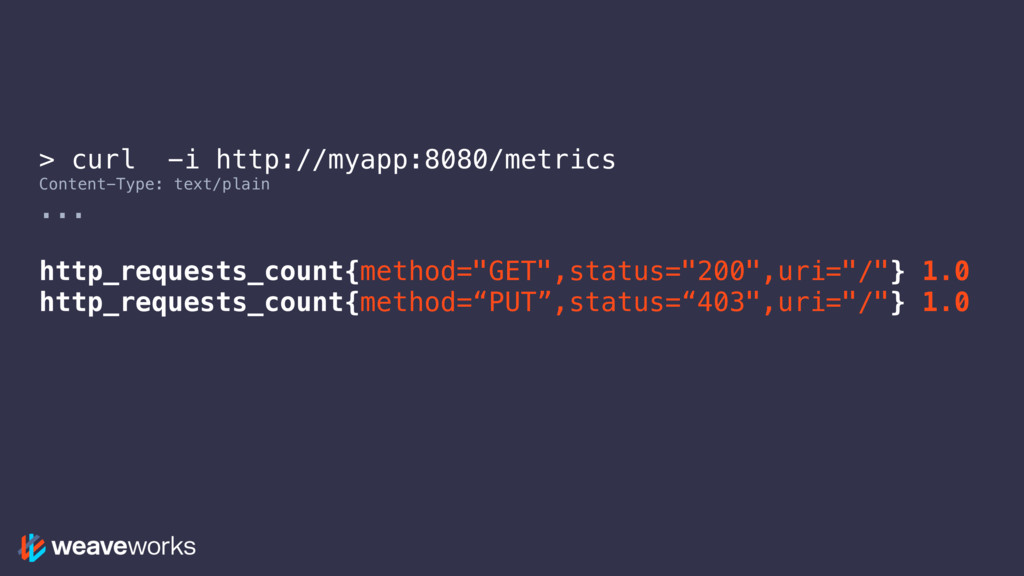 > curl -i http://myapp:8080/metrics Content-Typ...