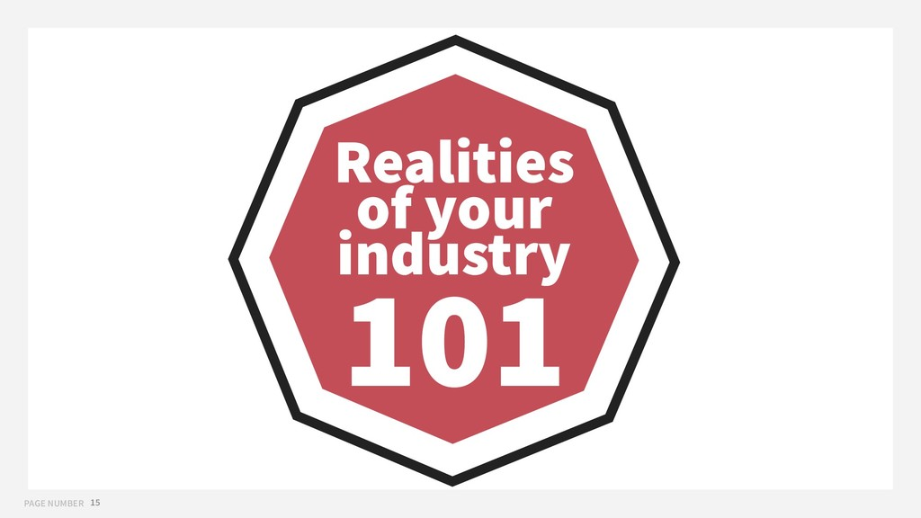 PAGE NUMBER 15 Realities of your industry 101