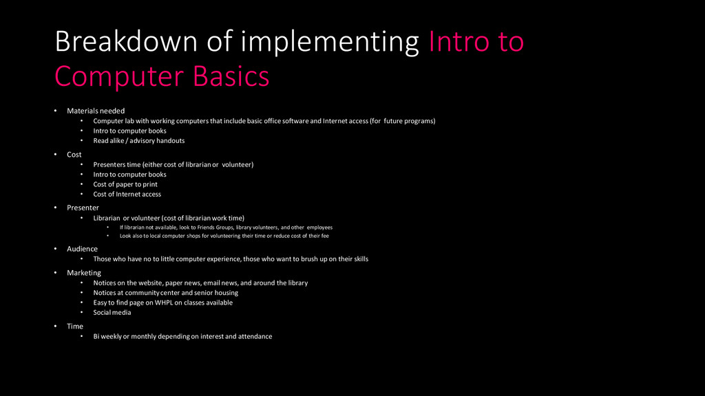 Breakdown of implementing Intro to Computer Bas...