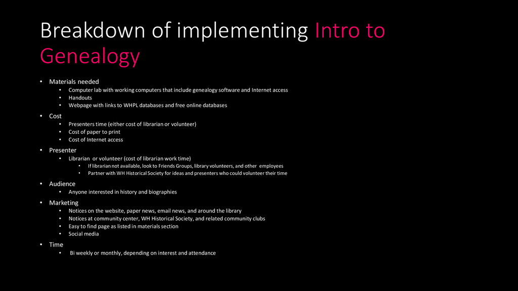 Breakdown of implementing Intro to Genealogy • ...