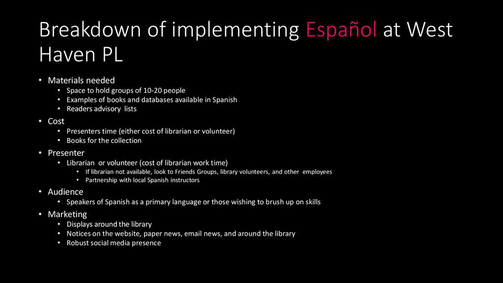Breakdown of implementing Español at West Haven...