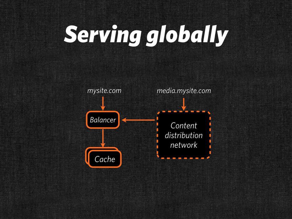 Serving globally Cache Cache Balancer Content d...