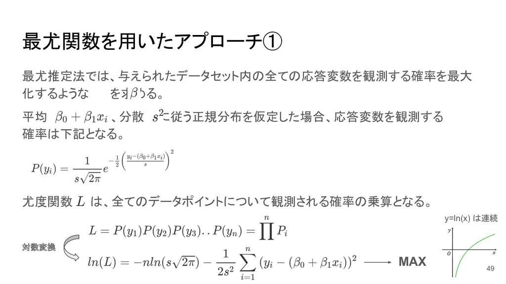 平均 、分散 に従う正規分布を仮定した場合、応答変数を観測する 確率は下記となる。 最尤関数を...