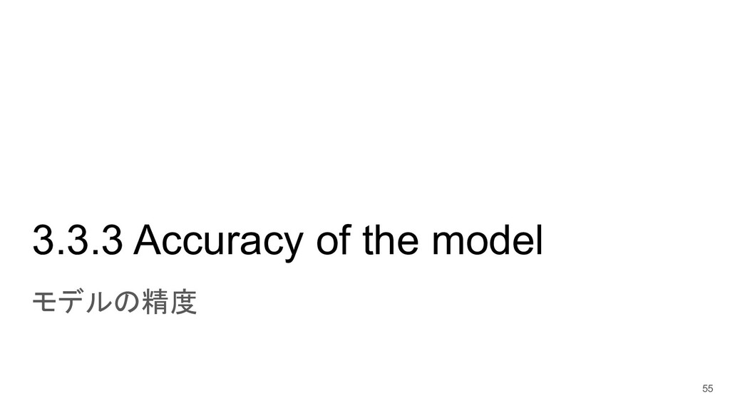3.3.3 Accuracy of the model モデルの精度 55